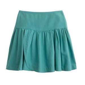 "J. Crew Linen ""Swish"" Skirt Turquoise NWT Size 6"